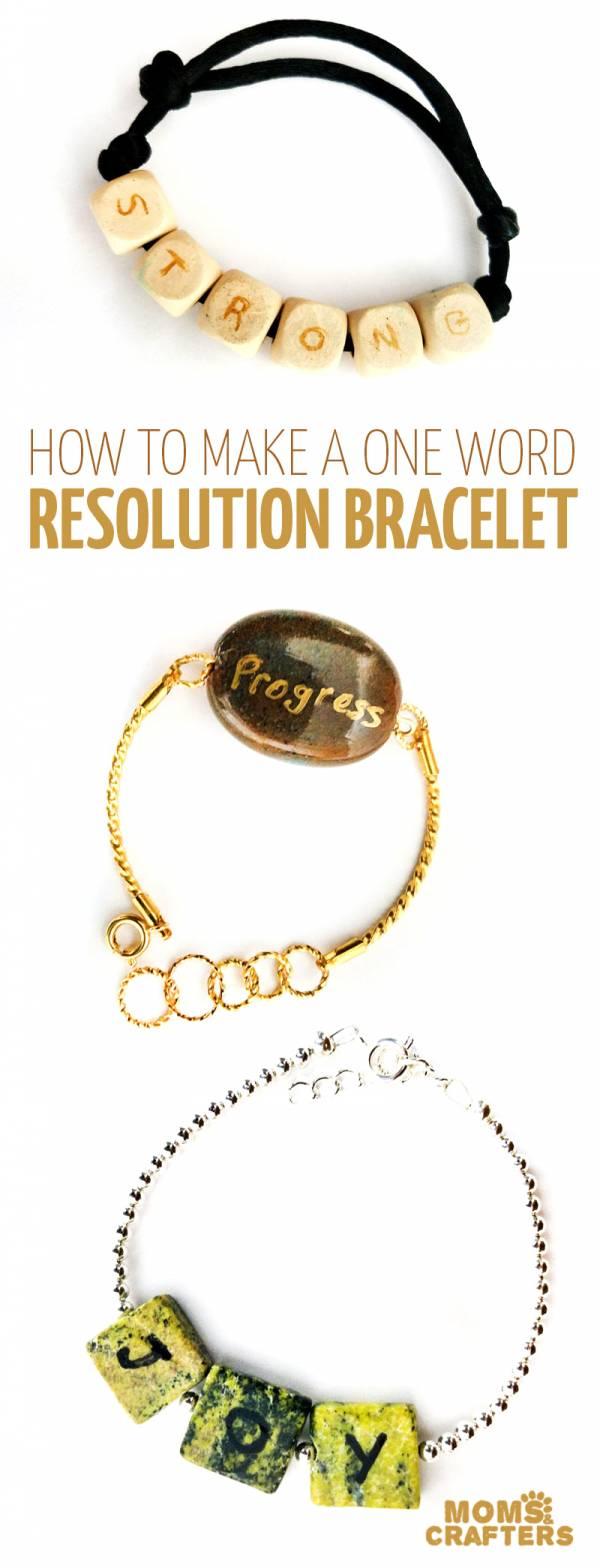 DIY One Word Resolution Bracelets