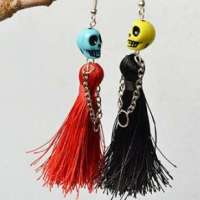 Halloween Skull Bead and Tassel Drop Earrings