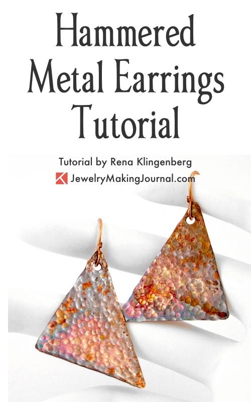 Hammered Metal Earrings Tutorial by Rena Klingenberg - featured on Jewelry Making Journal