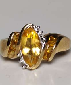 Citrine & Diamond Gold Ring