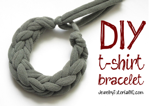 how to make a jersey knit t-shirt bracelet (video tutorial)