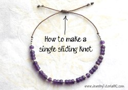How to make a silding knot adjustable closure for bracelets or necklaces with only one knot instead of two. (free jewelry making video tutorial)