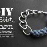 DIY jersey knit t-shirt yarn chain bracelet tutorial