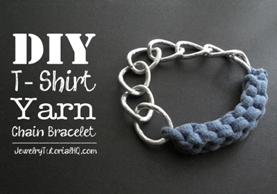 DIY jersey knit t-shirt yarn chain bracelet tutorial
