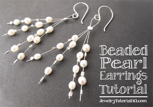 Free jewelry tutorial: Beaded Pearl Earrings from JewelryTutorialHQ.com