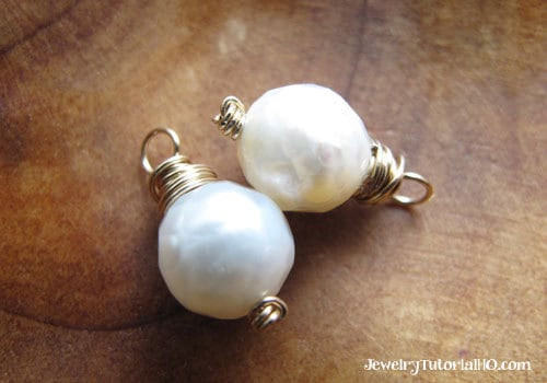 faceted white pearl earring charms with knotted headpins