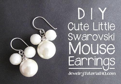DIY beaded mouse pearl earrings