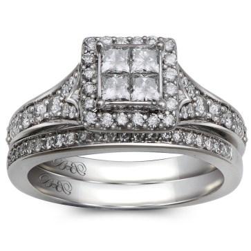 10K White Gold .89 Ctw Princess Cut Quad Bridal Set