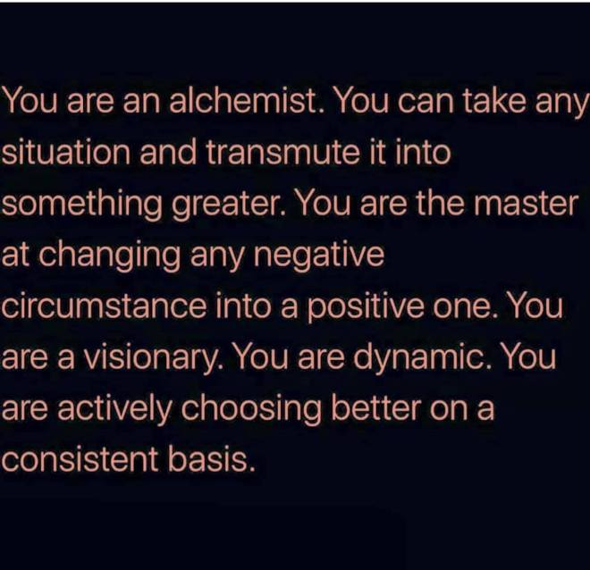 alchemist, transmutation, master, positive, law of attraction, loa