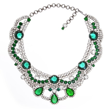 Jewels by Alan Anderson Holiday Emerald & Crystal Swag Necklace