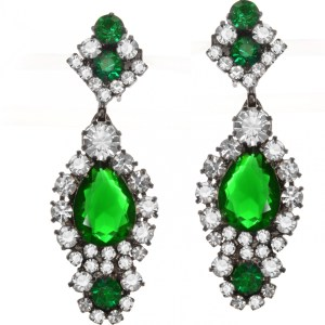 Jewels by Alan Anderson Holiday Emerald & Crystal Drop Earrings