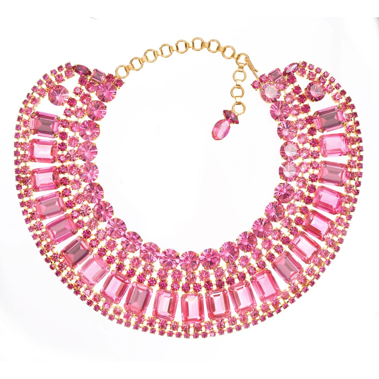 pink hot stone statement necklace rickis glitter res rhodium hi