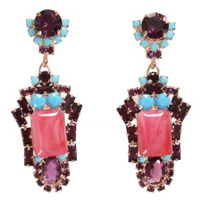 Alan Anderson Pink Jade, Amethyst and Turquoise Drop Earrings in 14K Rose Gold