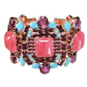 Alan Anderson Pink Jade, Amethyst and Turquoise Clamper Bracelet in 14K Rose Gold