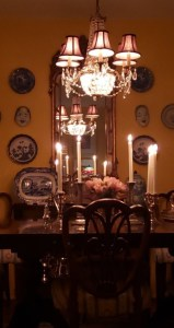 The dining room at rest... candlelight and a dimmer switch.