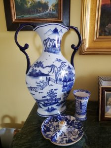 Blue and white grouping in my living room featuring my first blue-and-white Spode vase (the little one on the right).