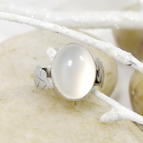 Cat's Eye Moonstone Bezel Set Ring