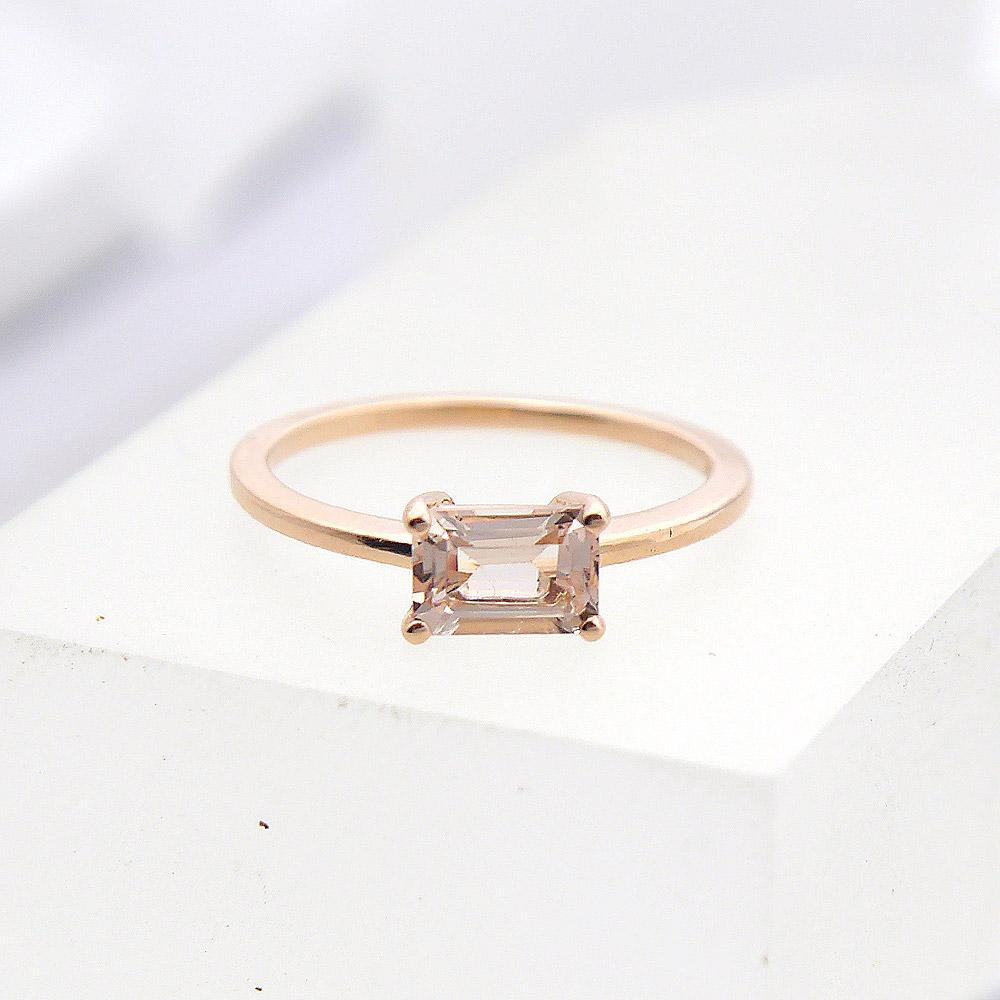Emerald Cut Morganite Ring in 14k Rose Gold