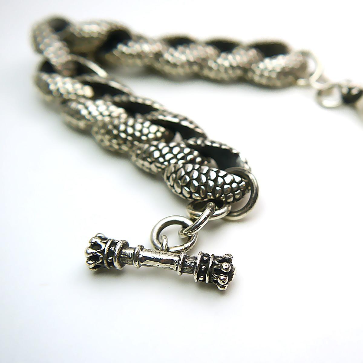 "King Baby Snake Link Bracelet in Sterling Silver 10"""