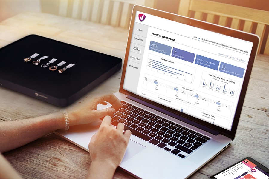The JewelTrace Dashboard shows key data bites for jewelers to understand their business better.