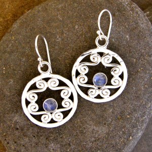 Rainbow Moonstone Silver Filigree Hoops