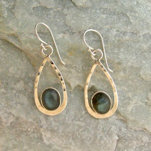 Oval Labradorite Drop Earrings