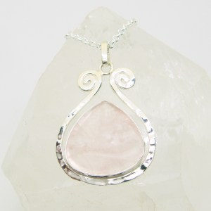Rose Quartz Hammered Silver Scroll Goddess Pendant