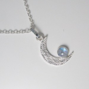 Rainbow Moonstone Textured Silver Crescent Moon pendant
