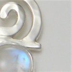 rainbow moonstone silver spiral dangle earrings