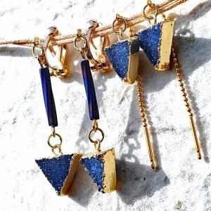 青いドゥルージー三角のピアスとイヤリング