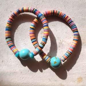 アフリカビニールディスク・レコード盤ビーズ虹色ブレスレット