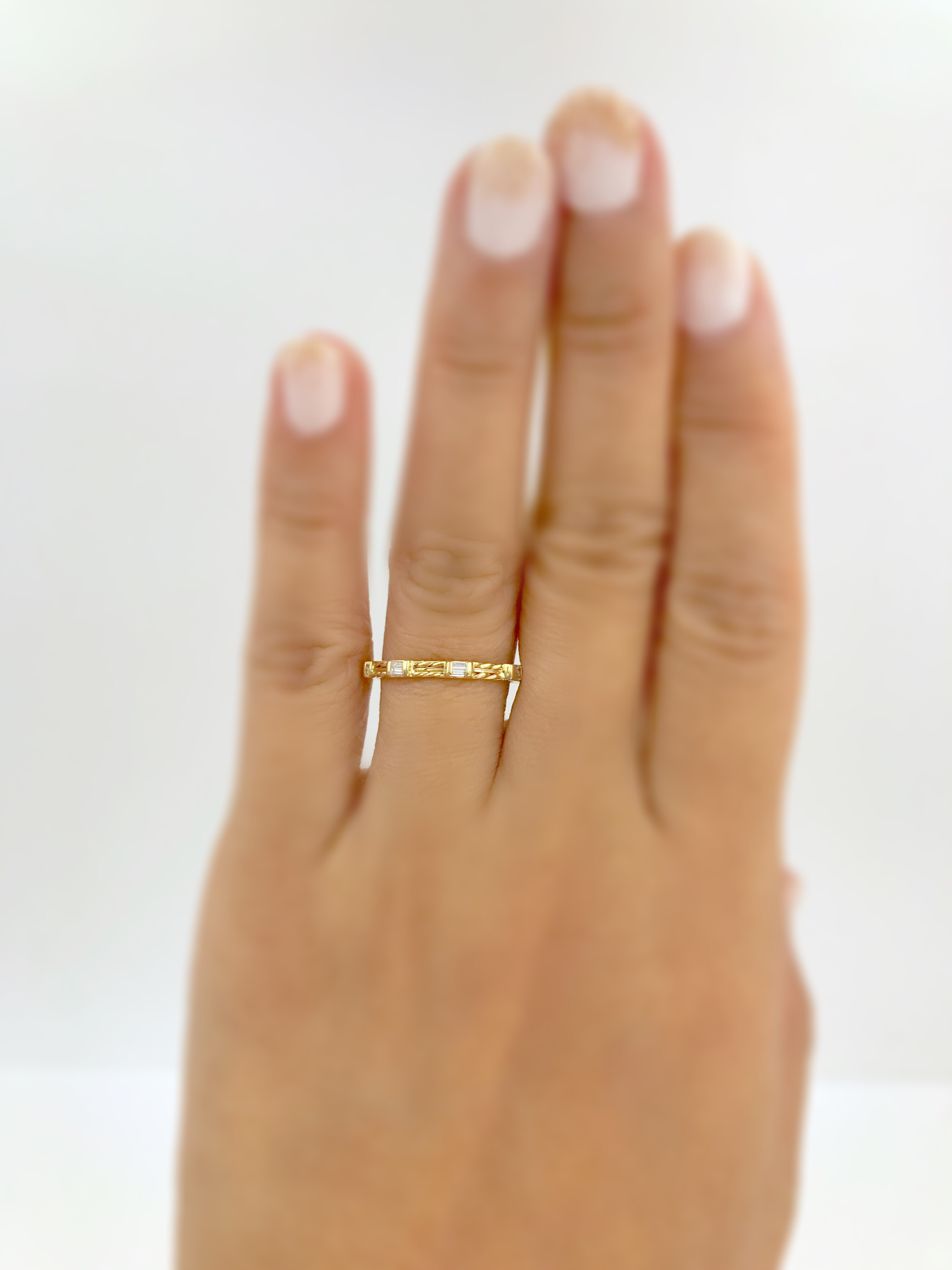 18k Gold Double Baguette Diamond Wedding Band Stacking Ring