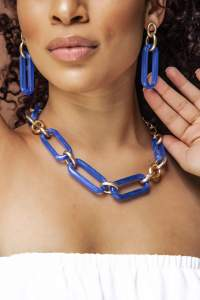 Blue Link Necklace and Earrings