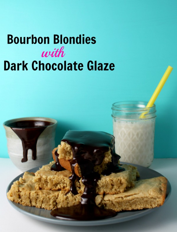 Bourbon Blondies with Dark Chocolate Glaze Jewhunry Blog