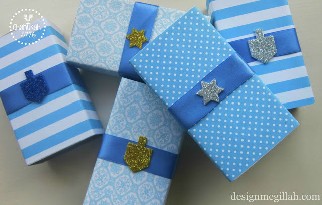 Presents gift wrapped and decorated for Chanukah