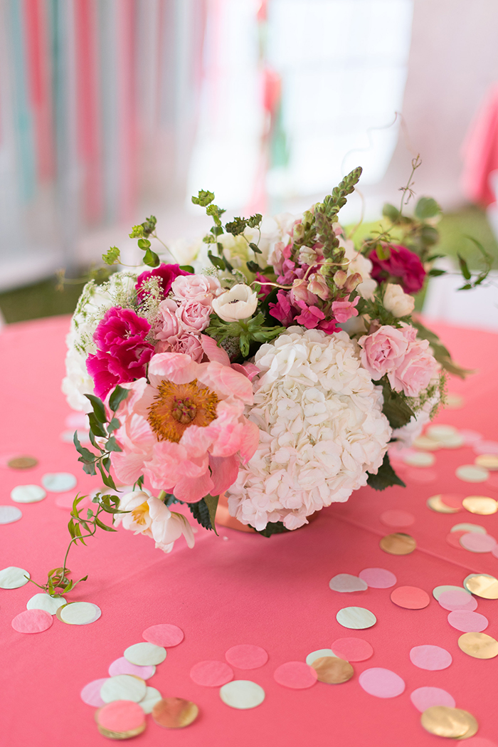 Flower centerpieces for Coral and Mint Party