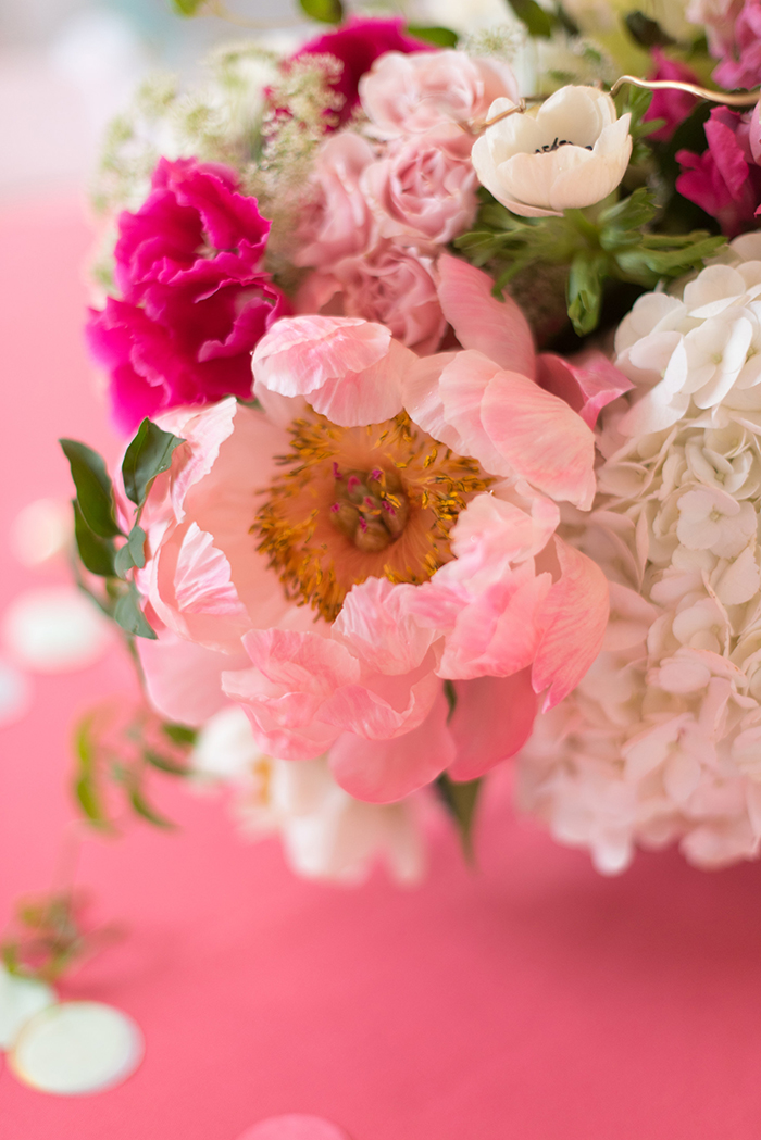 Peonies at Bat mitzvah party