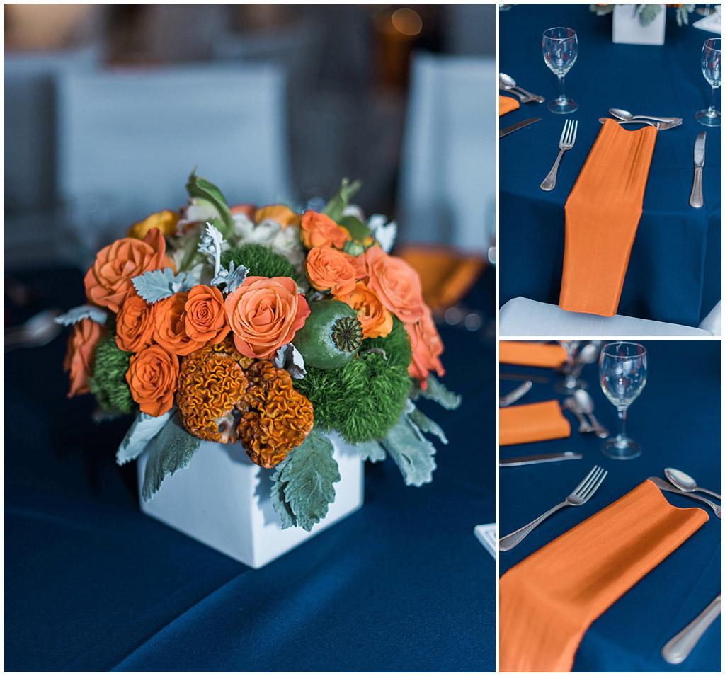 Blue and Orange Bar Mitzvah Decor