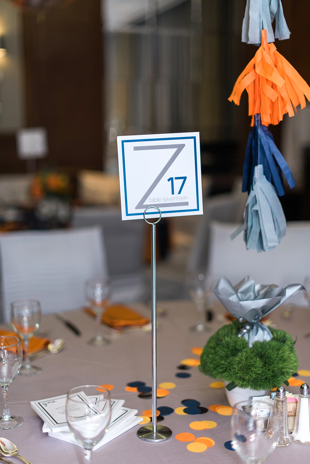 Bar Mitzvah Decor in Blue, gray and navy