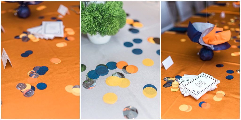 Confetti detail on Bar Mitzvah tables
