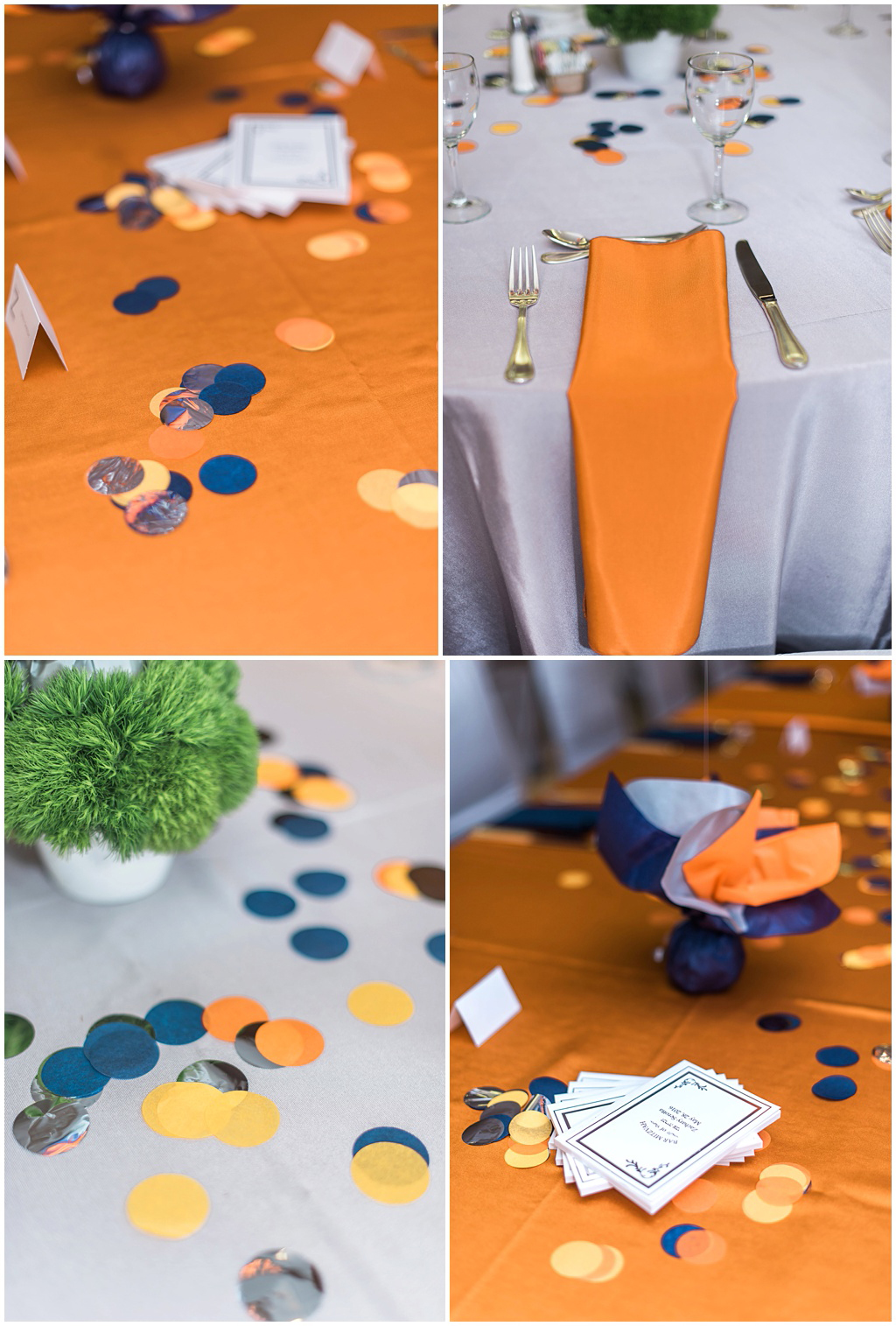 Bar Mitvah details of tables in orange gray and navy