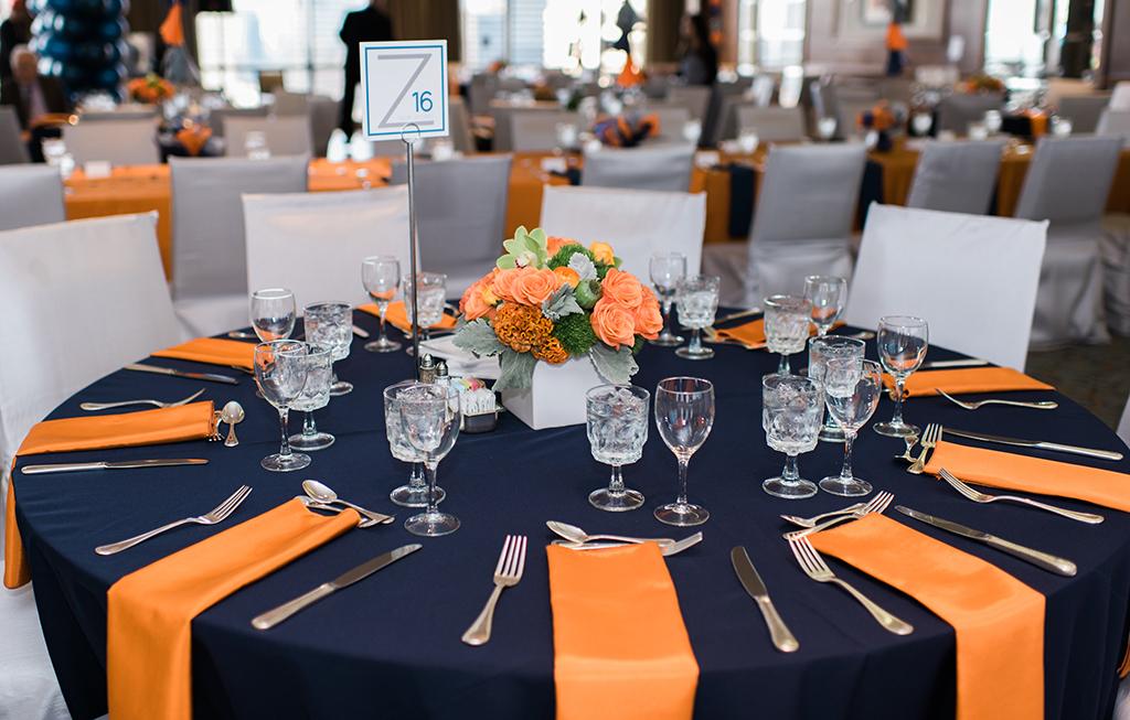 Bar Mitzvah Table with Navy, Grey, Orange
