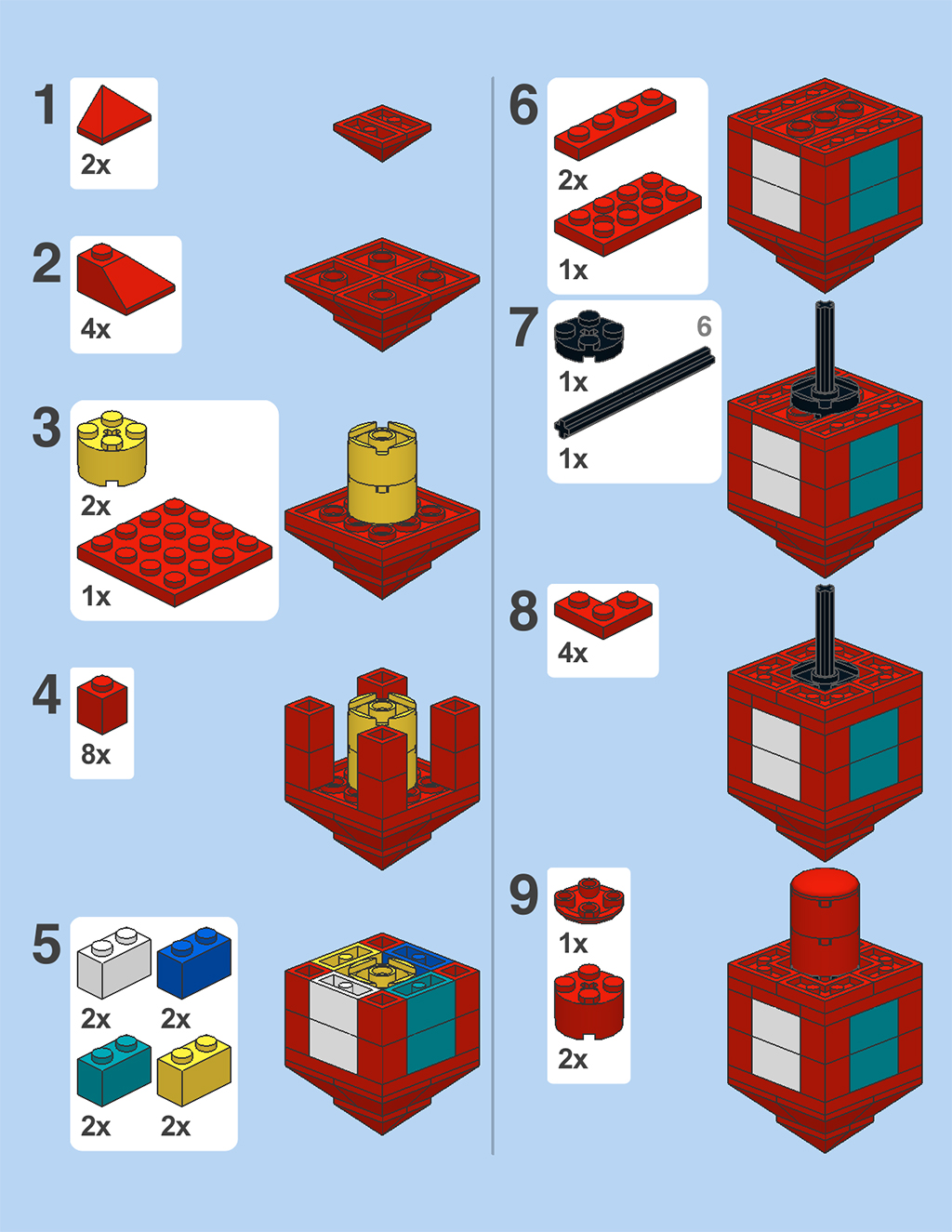 Instructions on How to Build a Dreidel out of Legos