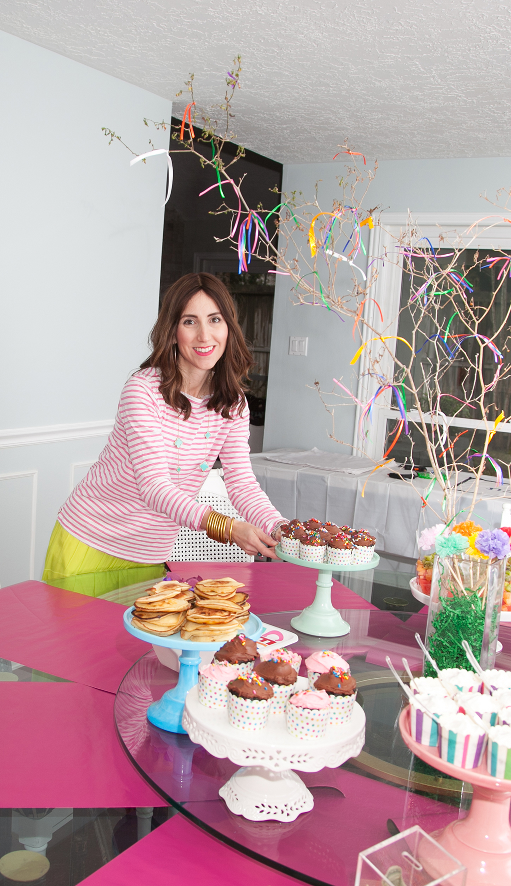 Setting up Dessert Table for Nine Year Old Girl's Birthday Party by Yael from Jewish Latin Princess