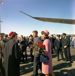 President and Mrs. Kennedy arrive at Love Field in Dallas, TX, 22 November 1963.  Photo Credit: Cecil Stoughton. White House Photographs. John F. Kennedy Presidential Library and Museum, Boston