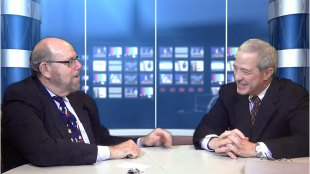 "Rabbi Address, left, and his guest, Rabbi Rex Perlmeter, in the studio during taping of ""Conversations"" TV show."