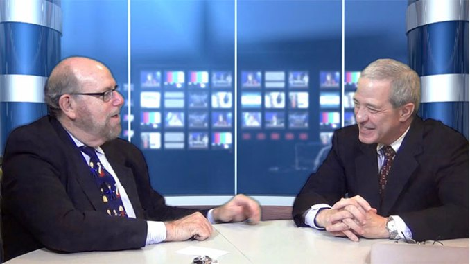"""Rabbi Address, left, and his guest, Rabbi Rex Perlmeter, in the studio during taping of """"Conversations"""" TV show."""