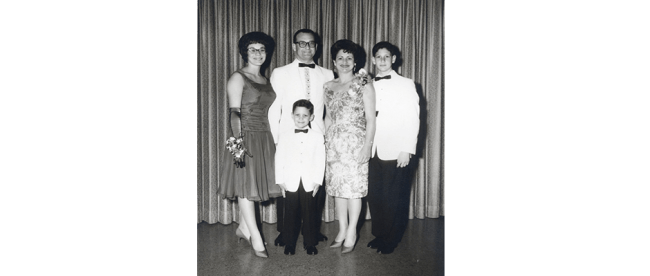 In a January 1962 photo, from left: Sandy, Marvin, Martha, Neal and (in front) Fred Greene
