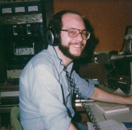 Steve at the control board of WRLB-FM, 1978.
