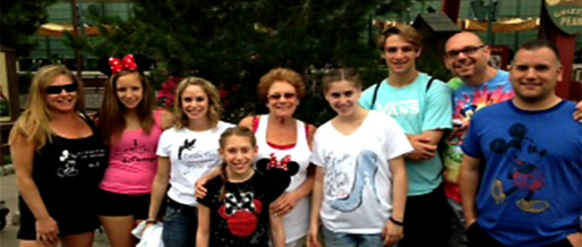 Sandy Taradash and her grandchildren at Disneyland, Anaheim, CA. Sandy says she bought each of them a t-shirt that matches their personality.